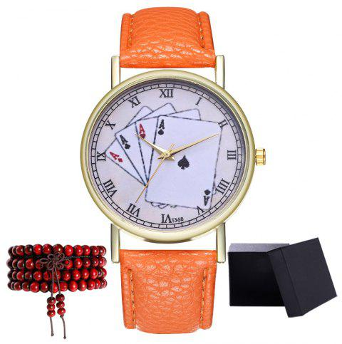 Kingou T368 Fashionable Poker Pattern Litchi Quartz Watch - ORANGE