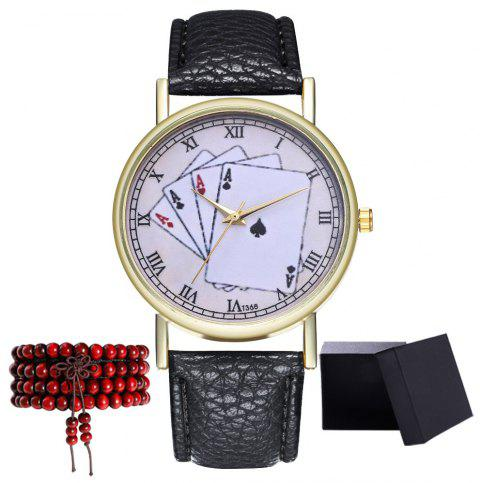 Kingou T368 Fashionable Poker Pattern Litchi Quartz Watch - BLACK