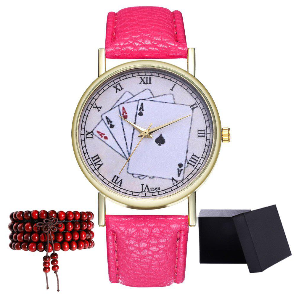 Kingou T368 Fashionable Poker Pattern Litchi Quartz Watch - DEEP PINK
