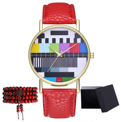 Kingou T371 Fashion Creative Pattern Litchi Quartz Watch - RED