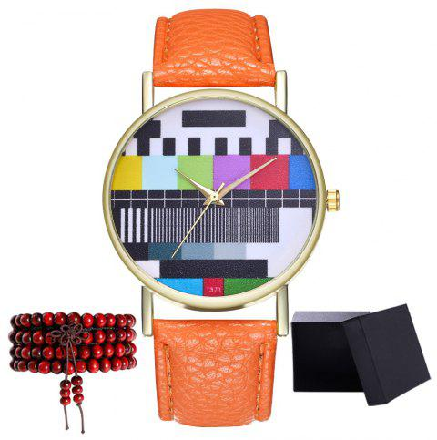 Kingou T371 Fashion Creative Pattern Litchi Quartz Watch - ORANGE