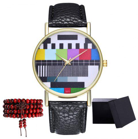 Kingou T371 Fashion Creative Pattern Litchi Quartz Watch - BLACK