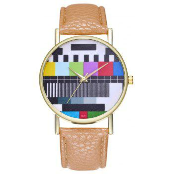 Kingou T371 Fashion Creative Pattern Litchi Quartz Watch - LIGHT BROWN