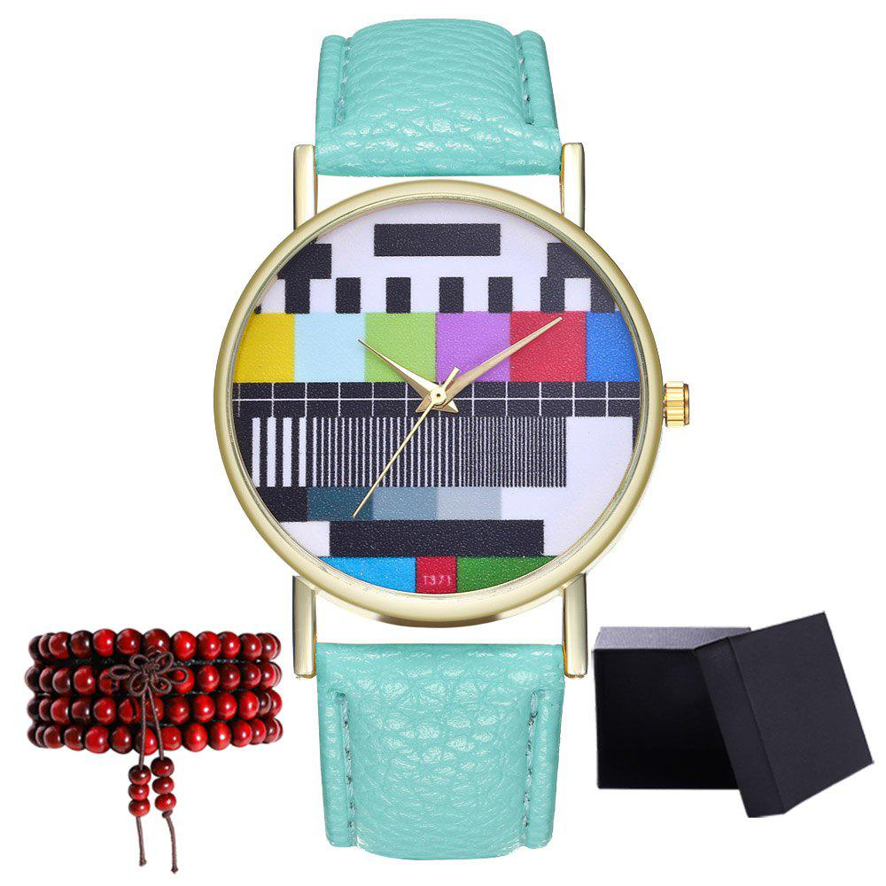 Kingou T371 Fashion Creative Pattern Litchi Quartz Watch - MINT GREEN
