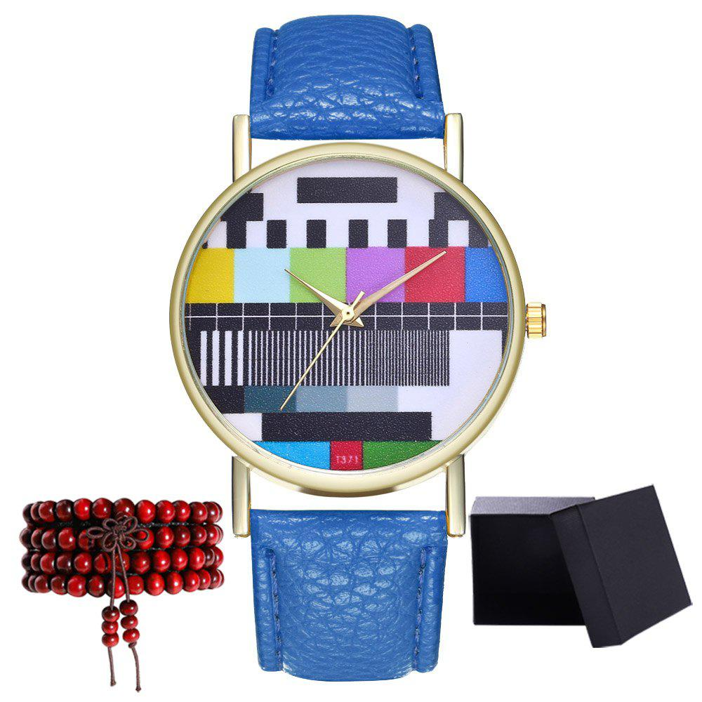 Kingou T371 Fashion Creative Pattern Litchi Quartz Watch - ROYAL BLUE