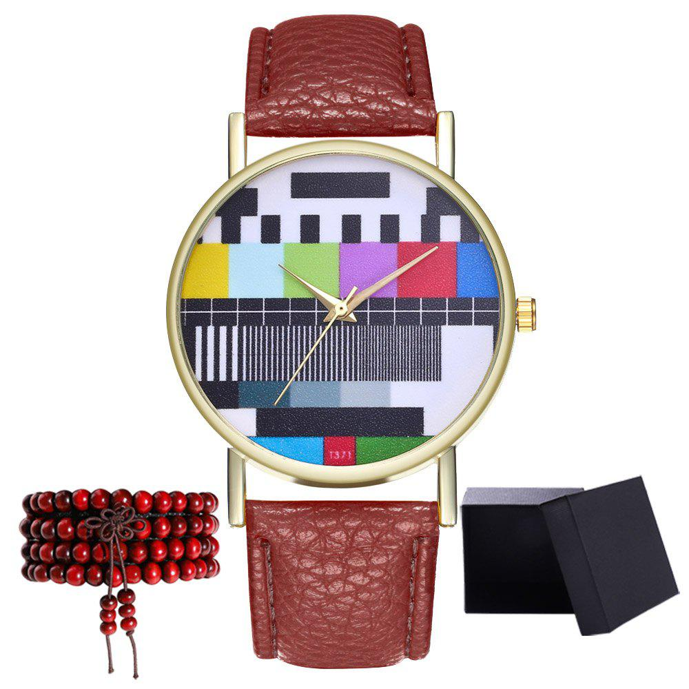 Kingou T371 Fashion Creative Pattern Litchi Quartz Watch - OAK BROWN