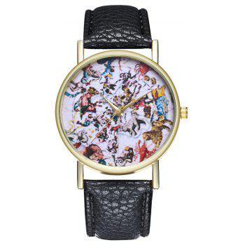 Kingou T372 Fashion Creative Animal Pattern Lychee Quartz Watch - BLACK