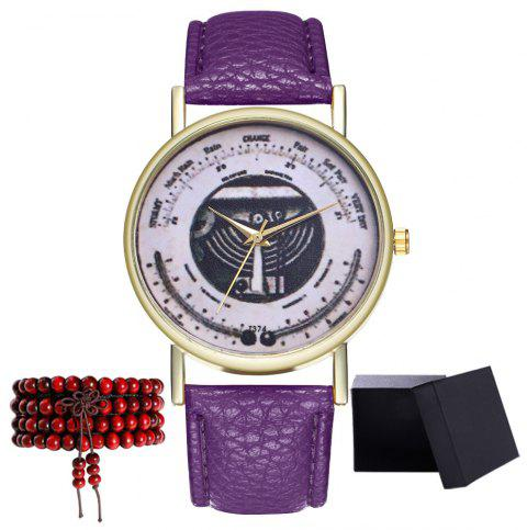 Kingou T374 Fashion Exquisite Patterned Lychee Quartz Watch - VIOLET