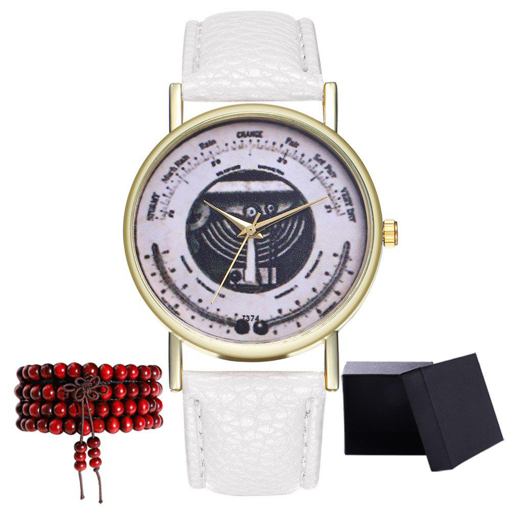 Kingou T374 Fashion Exquisite Patterned Lychee Quartz Watch - WHITE