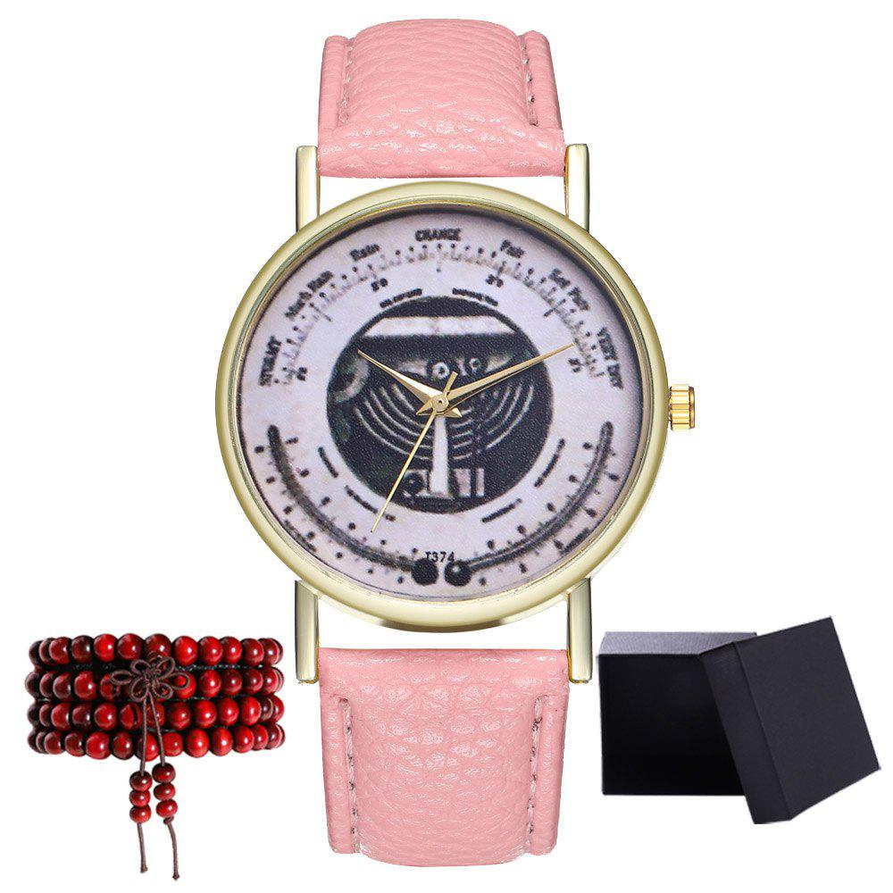 Kingou T374 Fashion Exquisite Patterned Lychee Quartz Watch - PINK