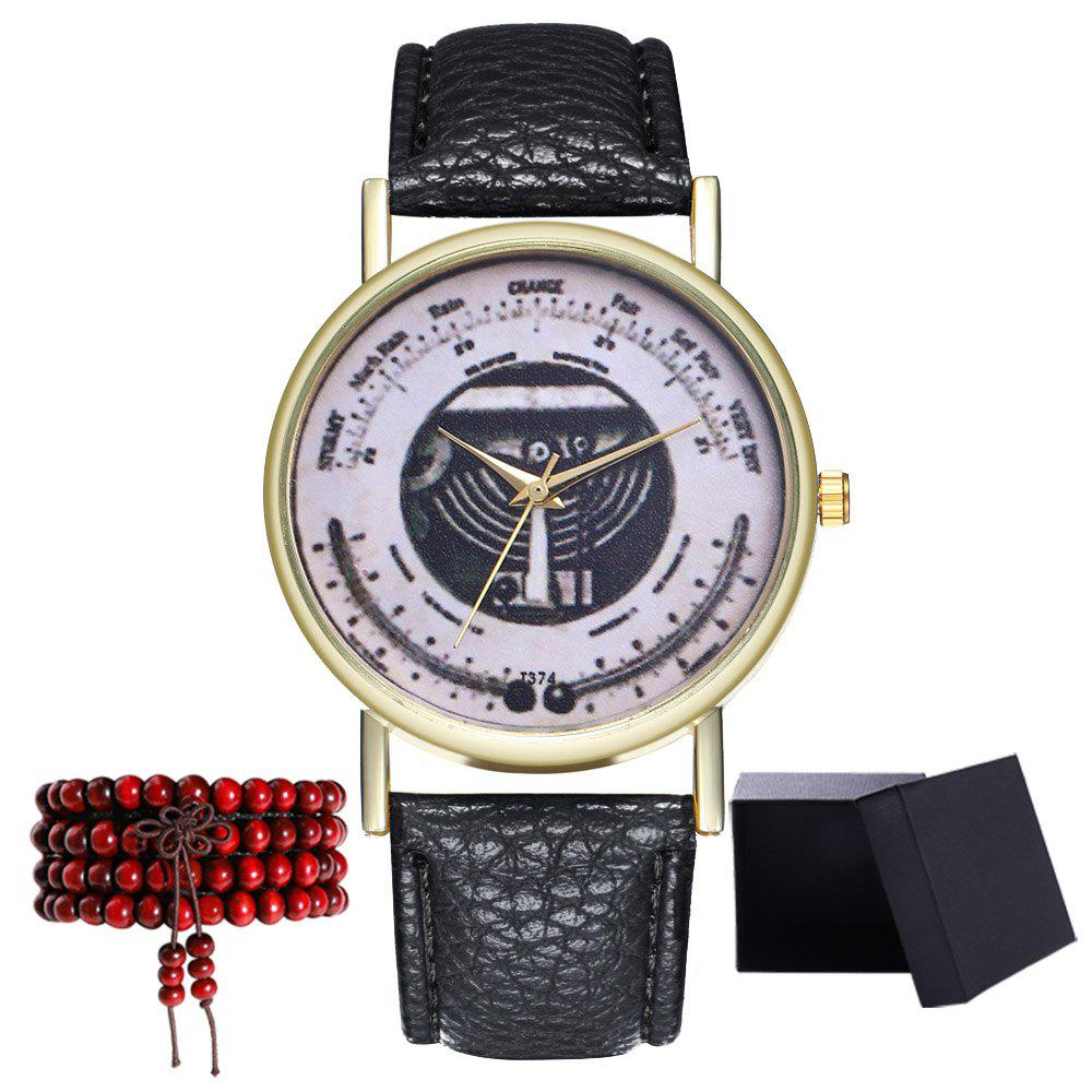 Kingou T374 Fashion Exquisite Patterned Lychee Quartz Watch - BLACK