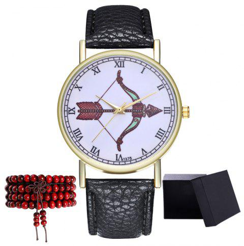 Kingou T375 Fashion Bows Arrows Pattern Litchi Line Quartz Watch - BLACK