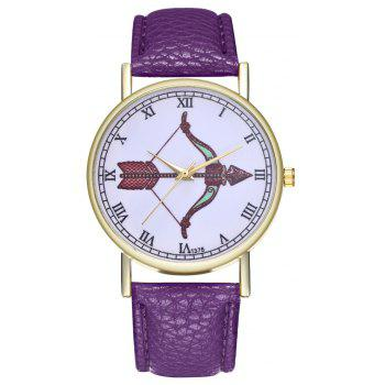 Kingou T375 Fashion Bows Arrows Pattern Litchi Line Quartz Watch - VIOLET