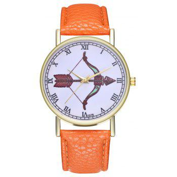Kingou T375 Fashion Bows Arrows Pattern Litchi Line Quartz Watch - ORANGE
