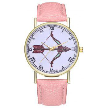 Kingou T375 Fashion Bows Arrows Pattern Litchi Line Quartz Watch - PINK