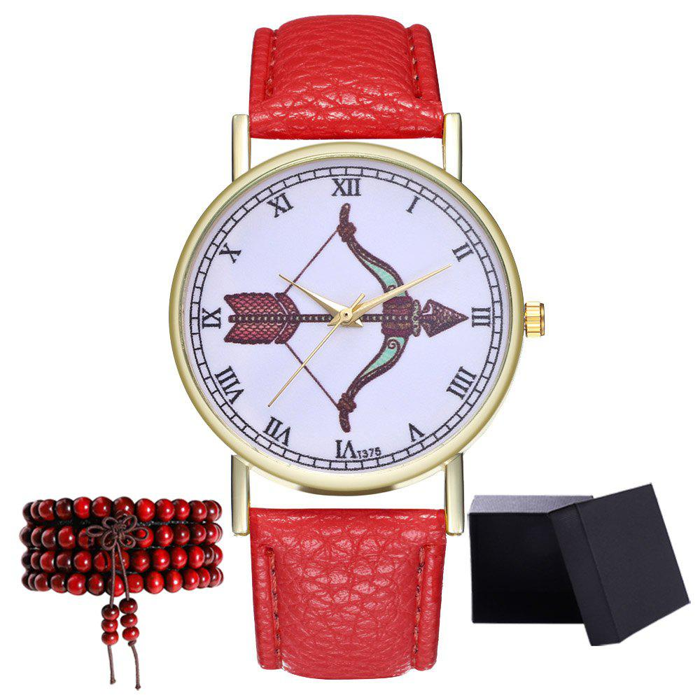 Kingou T375 Fashion Bows Arrows Pattern Litchi Line Quartz Watch - RED