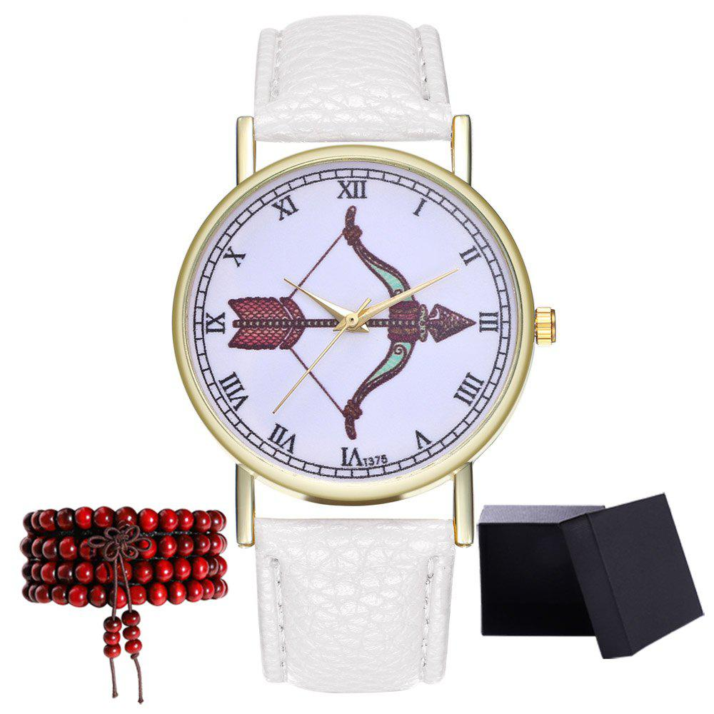 Kingou T375 Fashion Bows Arrows Pattern Litchi Line Quartz Watch - WHITE
