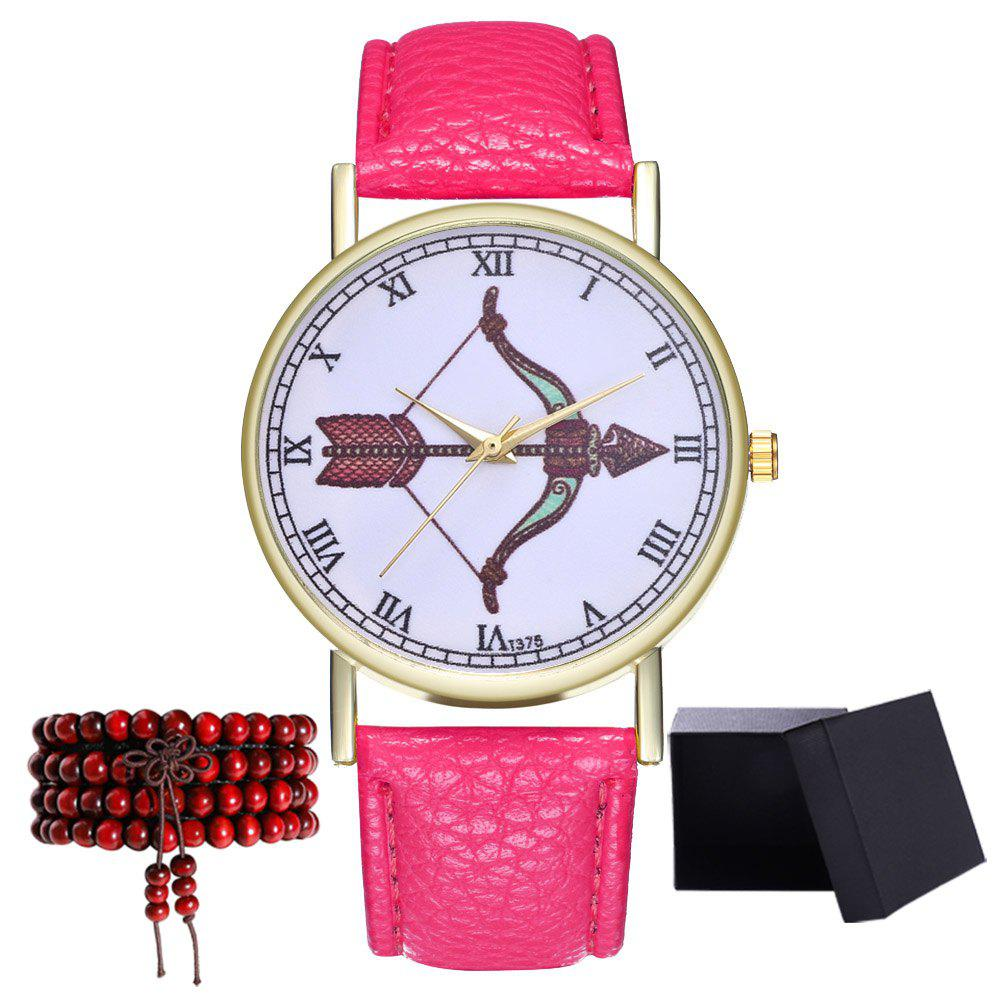 Kingou T375 Fashion Bows Arrows Pattern Litchi Line Quartz Watch - DEEP PINK