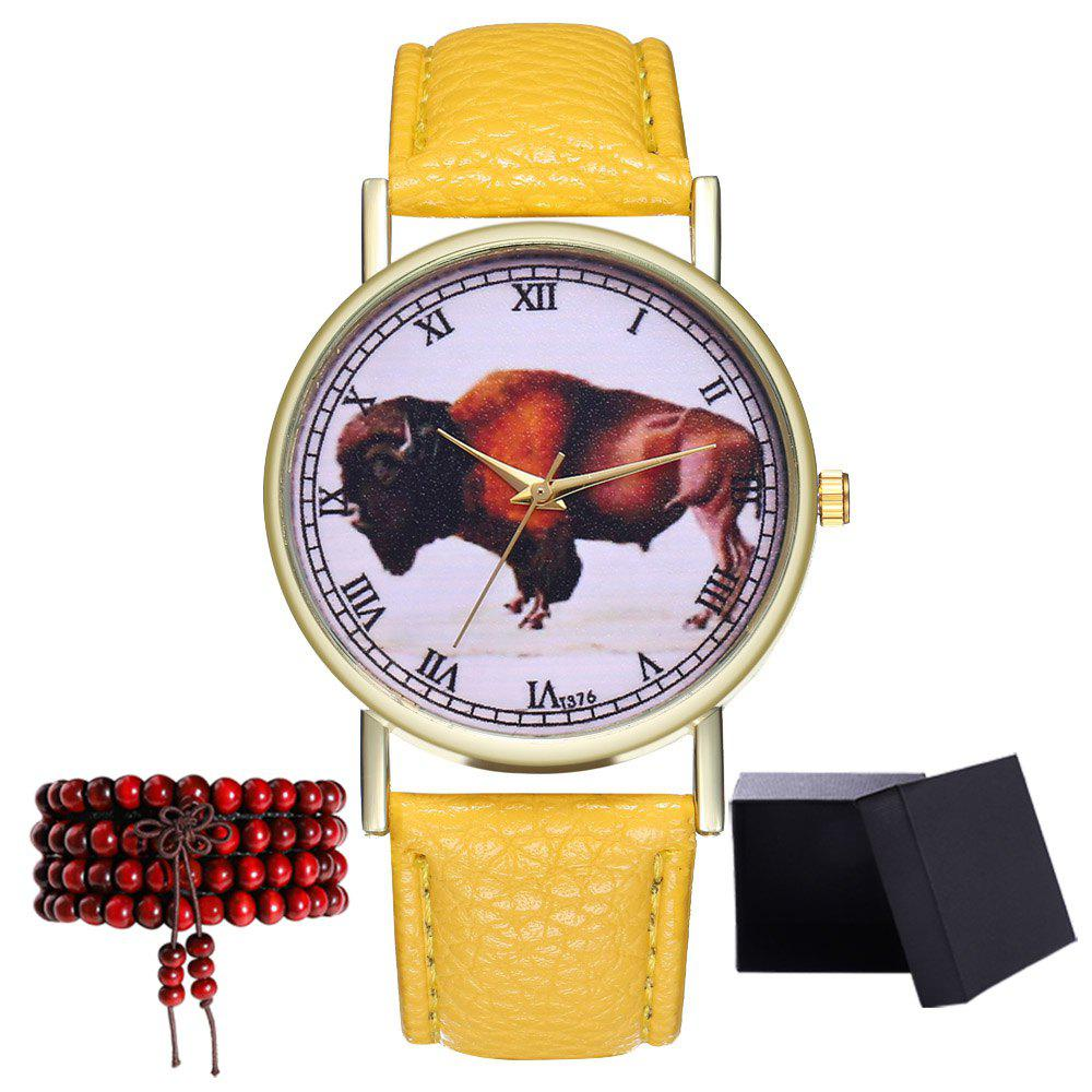Kingou T376 Fashion Bull Pattern Litchi Grain Quartz Watch - YELLOW