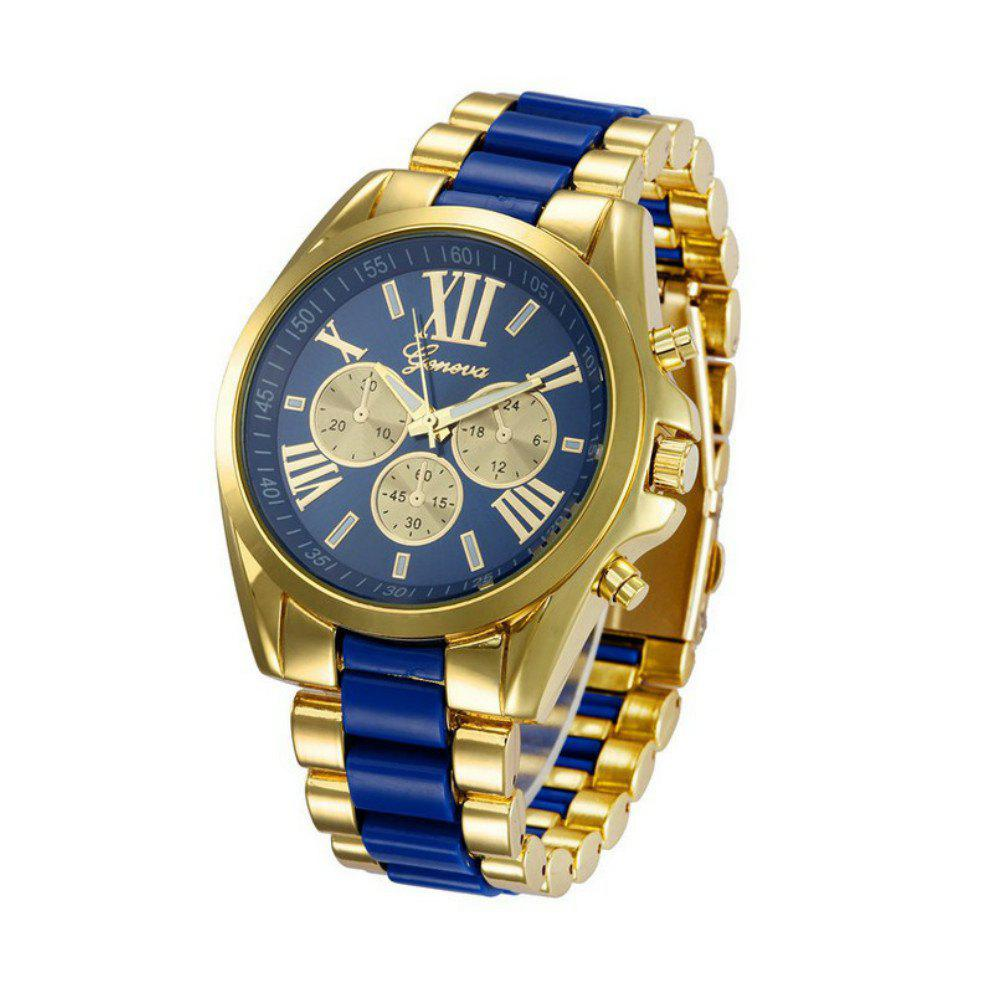 geneva Fashion Trendy Stainless Steel Band Men Watch - DODGER BLUE