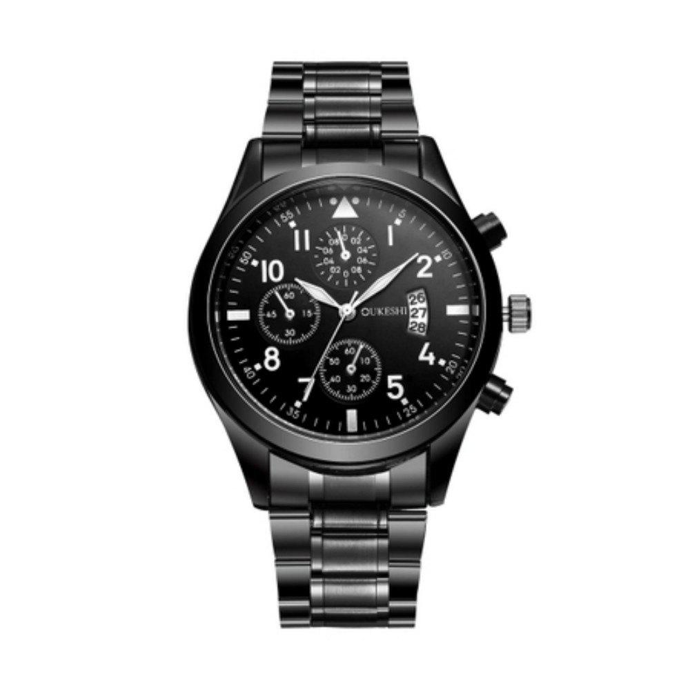 Oukeshi Men Fashion Stainless Steel Band Sports Watch with Calendar - BLACK
