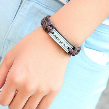 World Peace Leather Bracelet Ethnic Style Jewelry - BROWN