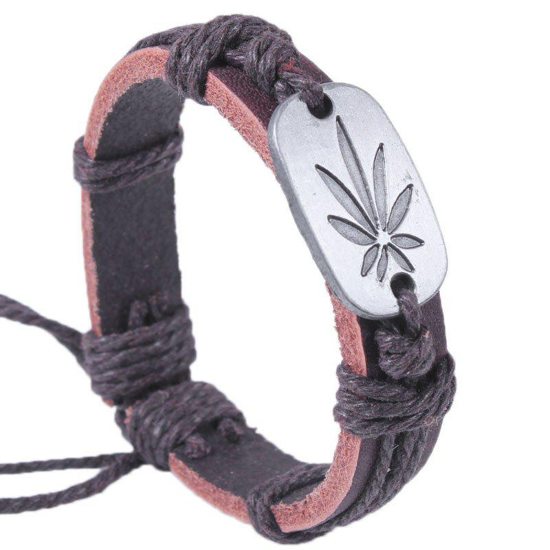 Colorful Maple Leaf Personality Fashion Bracelet Genuine Leather - BROWN