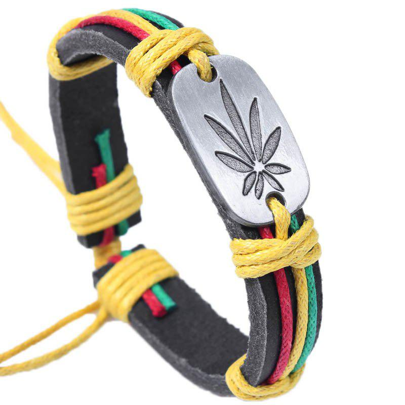 Colorful Maple Leaf Personality Fashion Bracelet Genuine Leather - multicolor