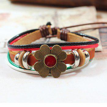 Small Fresh Antique Flower Four-color Braided Bracelet - COFFEE