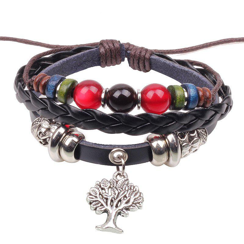 Flowers and Trees Alloy Bracelet Colored Beads - BLACK