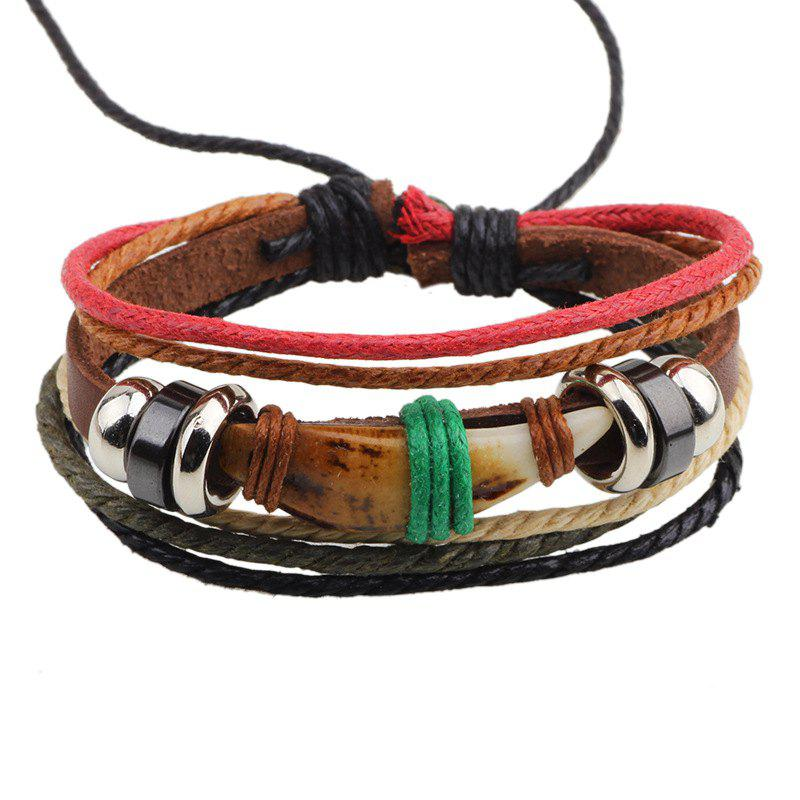Dog Tooth Alloy Beaded Leather Rope Jewelry Bracelet - COFFEE