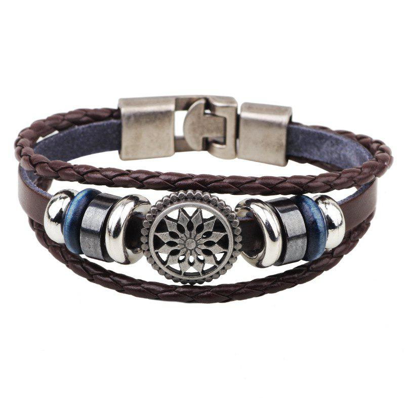 Fashion Leather Rope Radiation Bracelet - COFFEE