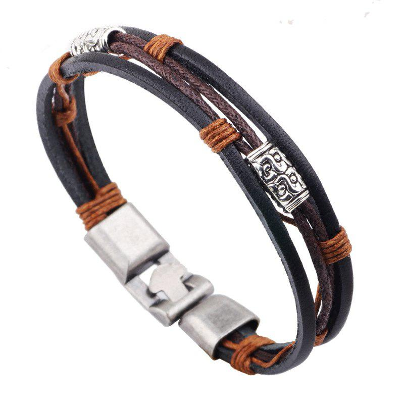 Three Leather Rope Wax Line Buckle Jewelry Bracelet - multicolor