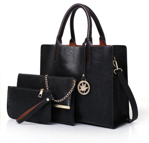 Women's Three Pieces Fashion Mobile Wild Large-capacity Messenger Shoulder Bag - BLACK