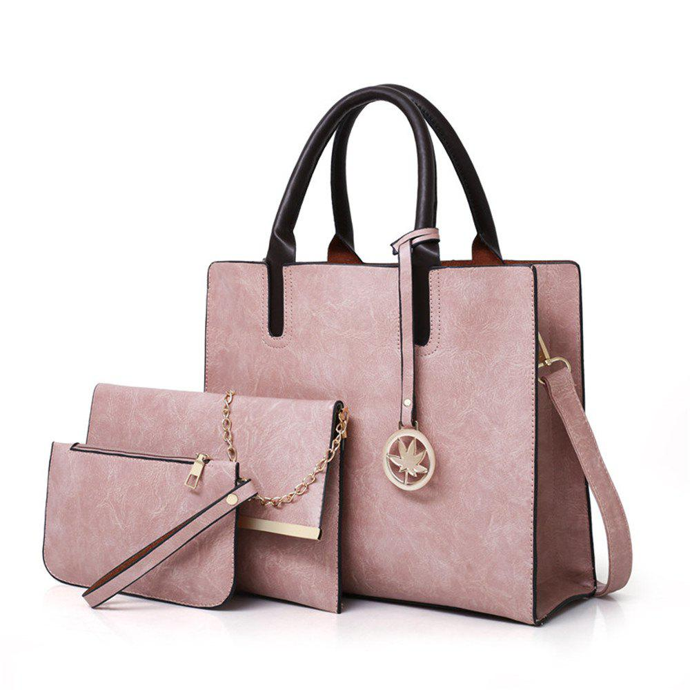 Women's Three Pieces Fashion Mobile Wild Large-capacity Messenger Shoulder Bag - PINK
