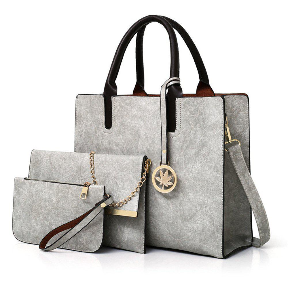 Women's Three Pieces Fashion Mobile Wild Large-capacity Messenger Shoulder Bag - GRAY