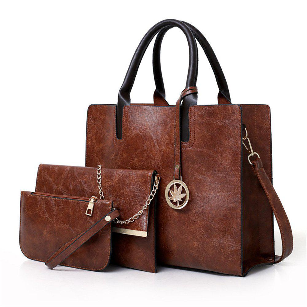 Women's Three Pieces Fashion Mobile Wild Large-capacity Messenger Shoulder Bag - BROWN