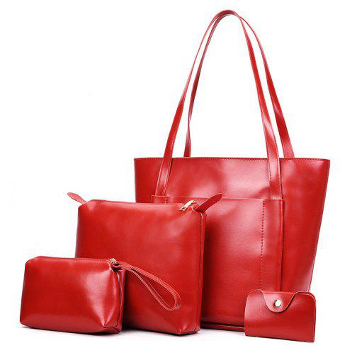 Female Student Large-capacity Soft Leather Shoulder Bag Fashion Wild Four-piece - LAVA RED