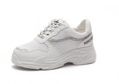Lace Up Breathable Platform Sneakers - WHITE 40