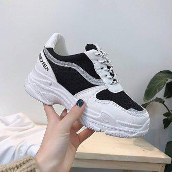 Lace Up Breathable Platform Sneakers - BLACK 40