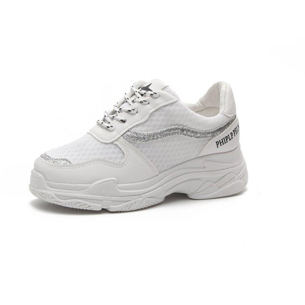 Lace Up Breathable Platform Sneakers - WHITE 35