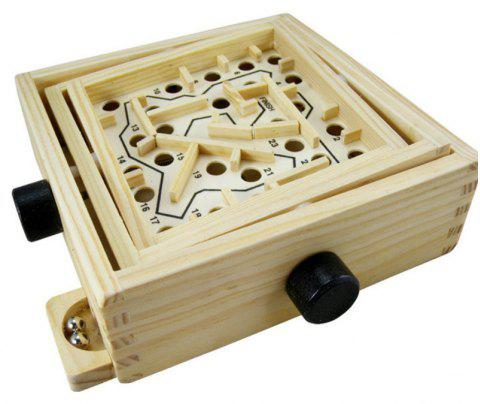 Ball in Maze Puzzle Handcrafted Puzzle Toy for Kids - LIGHT KHAKI