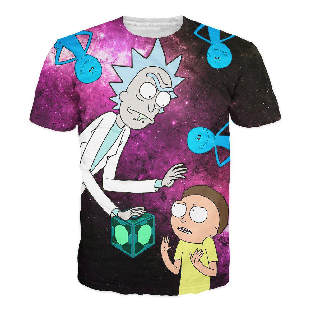 Cartoon 3D Digital T - shirt - multicolor A 2XL