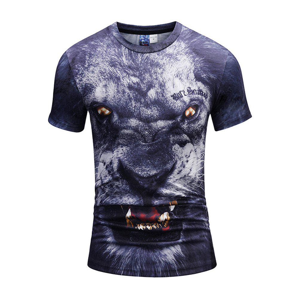 Ferocious Lion 3D Printing T-Shirt - multicolor A 3XL