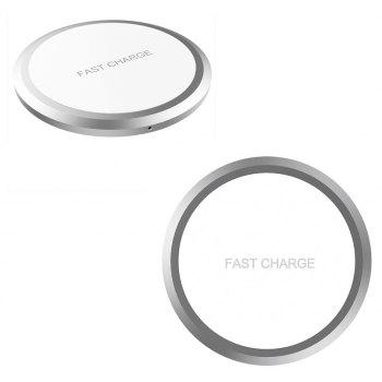 For iPhone X Ultra Slim Aluminium Wireless Fast Charger Qi Standard - SILVER