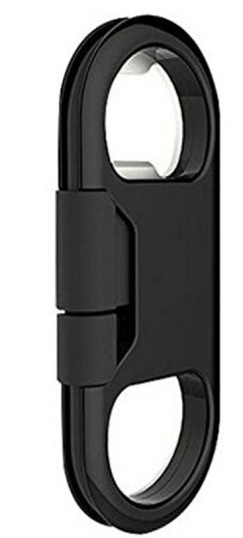 New Creative Key Ring Bottle Opener Data Cable for iPhone - BLACK
