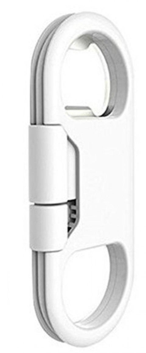 New Creative Key Ring Bottle Opener Data Cable for iPhone - WHITE
