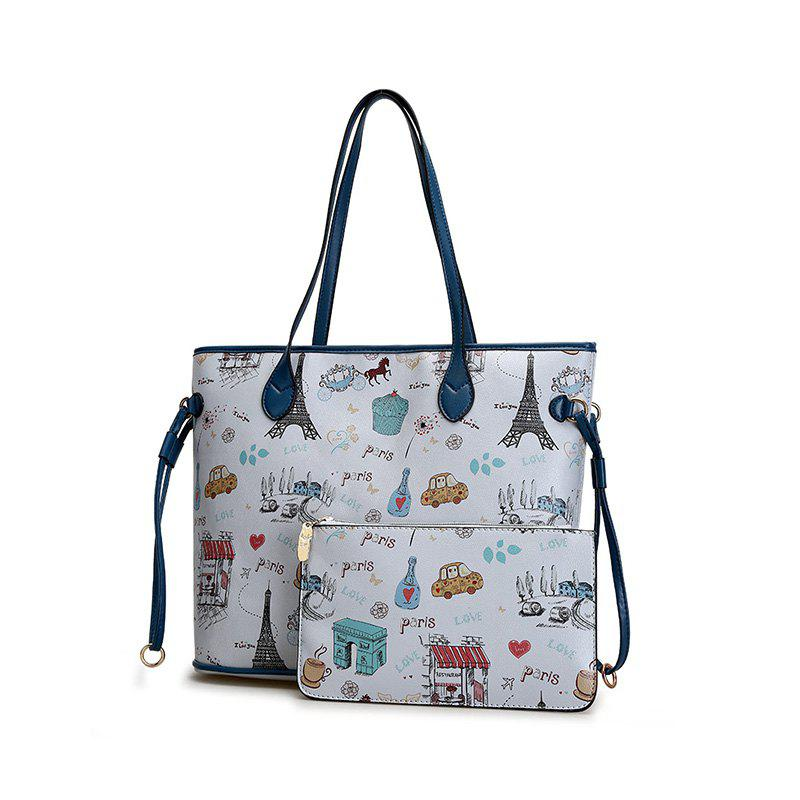 Laides Totes Composite Shoulder Bags for Women Casual PU Leather Messenger Bag - LIGHT GRAY