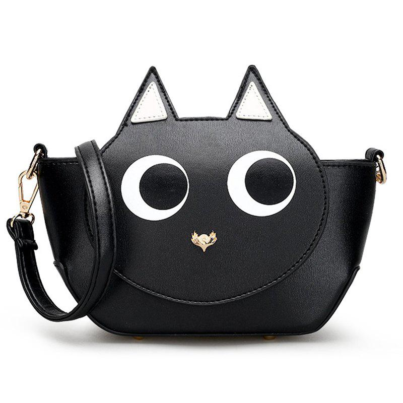 Women Small Crossbody Bags High Quality PU Leather Handbag - BLACK