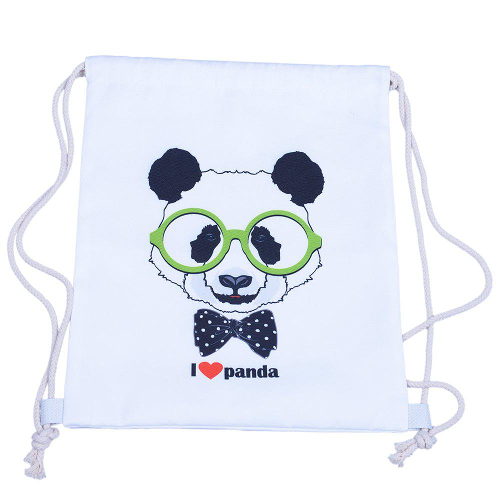 Chinese Panda Drawstring Backpack - WHITE